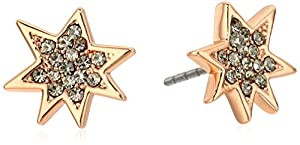 Rebecca Minkoff Pow Rose Gold / Black Diamond Stud Earrings