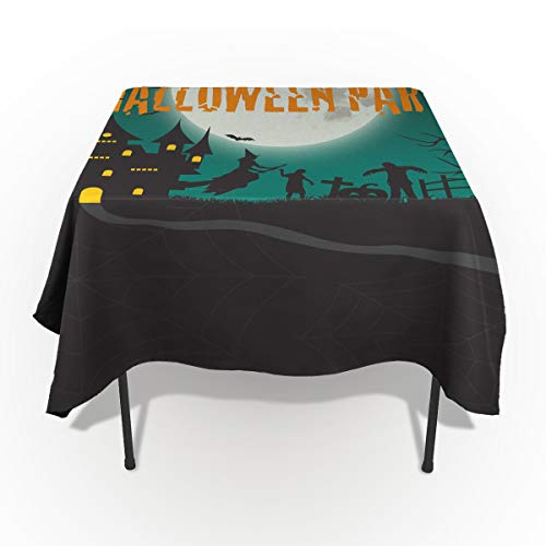 60 x 104 Inch Rectangle Tablecloth - Happy Halloween Party Moon Castle Rectangular Polyester Table Cloth Table Covers Linen Decor - Great for Kitchen Table, Parties, Holiday Dinner, Wedding & More
