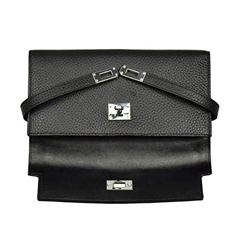 Leather Genuine Black Padlock Wallets Esyuel Women's Trifold wqTtSSza
