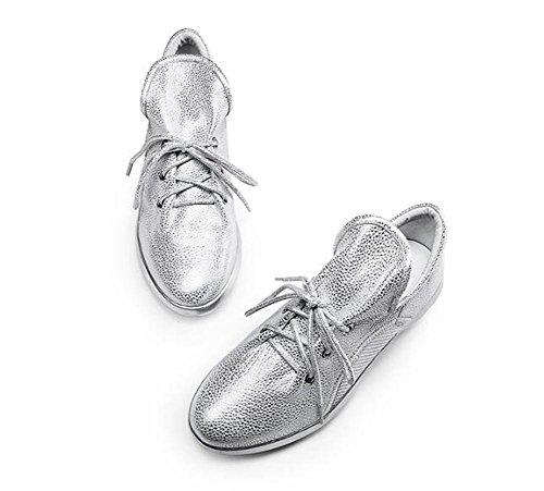 YEEY Zapatos de otoño para las mujeres correa de tacón plano informal cómodo aumento interno zapatos de cuero negro plateado Silver