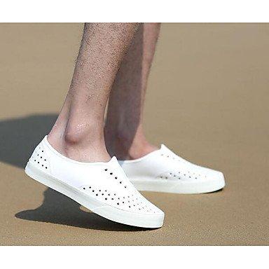 Los hombres sandalias zapatos agujero confort par zapatos casual de resorte de goma gris plana en blanco y negro,blanco White