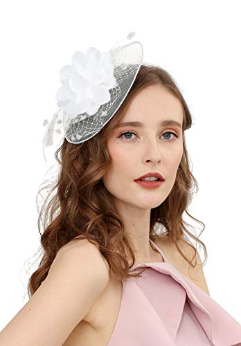 Fascinators Hats for Womens 50s Headwear with Veil Flower Cocktail Wedding Tea Party Church Derby ()
