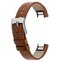 Austrake Leather Wristbands Replacement Bands for Fitbit Alta (Brown)