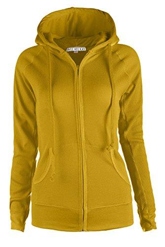 ViiViiKay Womens Casual Warm Thin Thermal Knitted Solid Zip-Up Hoodie Jacket MUSTARD by ViiViiKay