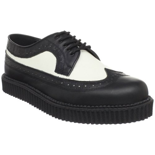 Leather Blk Wht Mens Sneakers - 4