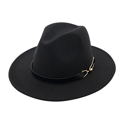 Zhhlinyuan Womens Felt Jazz Cap(PU Leather Band Decor) Plain Round Top Bowler Hat by Zhhlinyuan