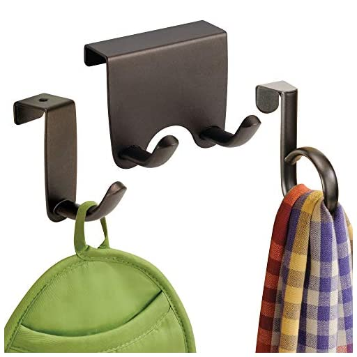 mDesign Over the Cabinet Kitchen Dish Towel Storage Hooks - Pack of 3, Assorted, Bronze