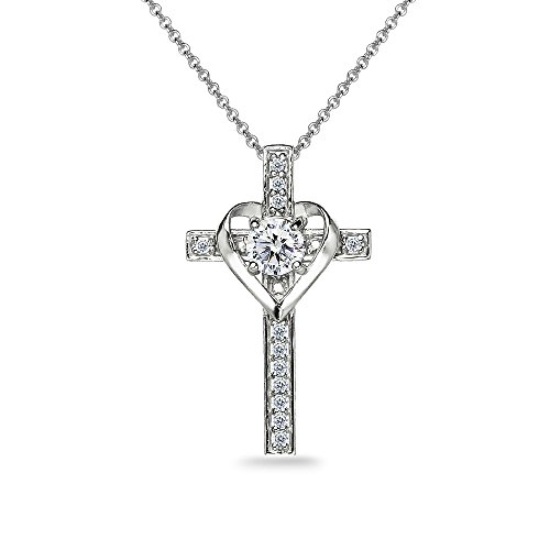 Sterling Silver Cross Heart Necklace Made with Swarovski Zirconia