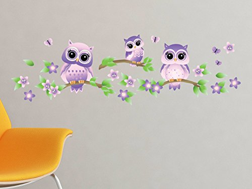 Owls on Branches Fabric Wall Decal - Pink - Set of 3 Owls on Tree Branches with Flowers and Butterflies - 4 Color Options - Non-Toxic, Reusable, Repositionable