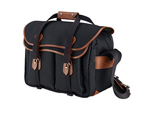Billingham 445 Shoulder Bag - Black Canvas/Tan Leather 503401