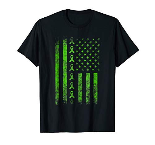 (lymphoma cancer awareness lime green ribbon us flag t)