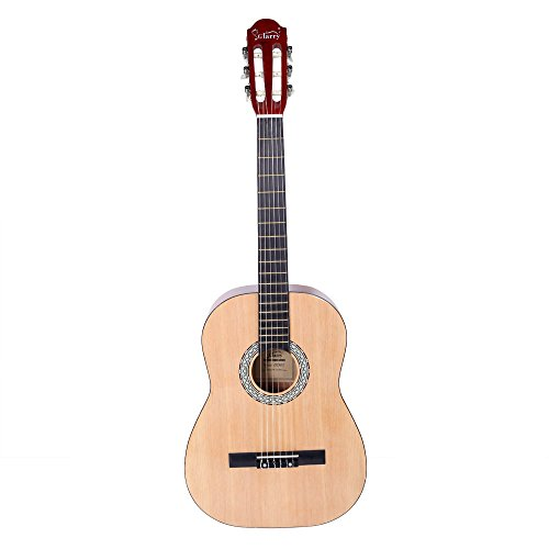 WisHome Glarry GT303 38 inch Spruce Front Cutaway Classic Guitar with Bag & Wrench Tool Glossy Edge - String Cutaway Bass 5