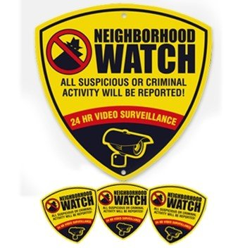 Neighborhood Watch CCTV Reflective Surveillance Camera Warning Sign and Decals. Neighborhood Watch 10