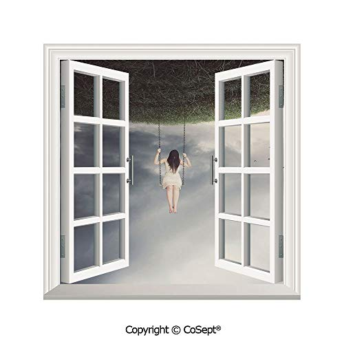 SCOXIXI Open Window Wall Mural,Upside Down World of A Sad Woman on The Swing Depression Picture Decorative,for Living Room(26.65x20 inch)