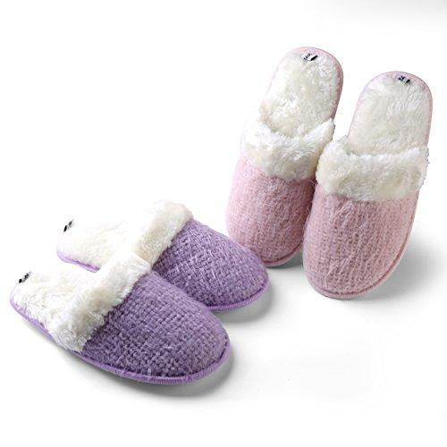 Aerusi Womens Cozy Knit Weave Plush Fleece Lined Slip on Houser Clog Scuff Slipper