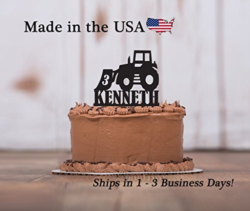 Tractor Birthday Party Cake Topper with FREE Keepsake Base, Cake Topper, Any Age, Bulldozer, Loader, Farm Equipment, Farm Party, Personalize, Party Decor, Keepsake ()