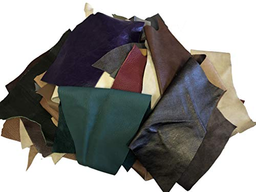 - 1 Pounds Upholstery Cow Hide Scrap Leather Pieces, Mixed Color, Size and Weight