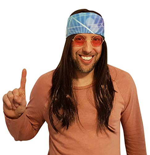 Hippie Wig Costume with Multi Color Bandana 60s 70s Hippy Woodstock Tye Die Festival Stoner Gear Brown Wig