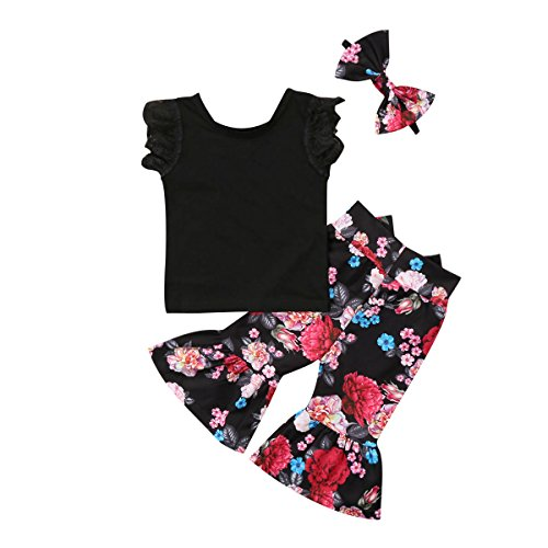 Kids Baby Girls Lace T Shirt+Flower Pants Bellbottoms 3pcs Outfits Set Cotton Pullovers Clothing 1-6Years (3T, Ruffle) ()
