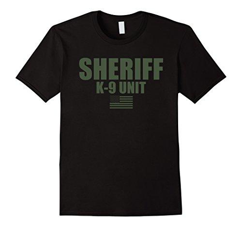 Mens Sheriff K-9 Unit Police Flag Uniform T-Shirt Medium Black