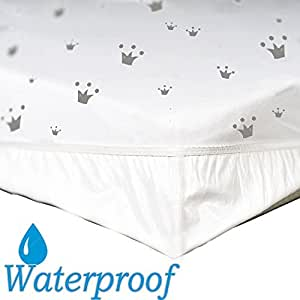 Waterproof Crib Sheet - 2 in1-100% Jersey knit Cotton Sheet + Unique Inner Lining - No Need Mattress Pad or Mattress cover! Fits Crib Mattress & Toddler bed- 52'' x 28'' x 9''