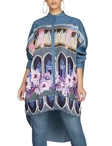 Women's Sexy Floral Print Simple Button Down Long Sleeve Collar Loose T-Shirt Blouse Tops Mini Dress Denim Blue