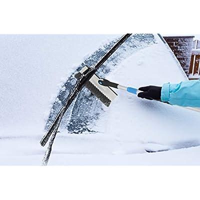 Extendable Snow Brush with Squeegee & Ice Scraper - Eva Foam Comfort Grip on Aluminum Handle, T-Shape Telescopic Auto Ice Scraper and Snow Brush - Car Truck SUV Windshield: Garden & Outdoor