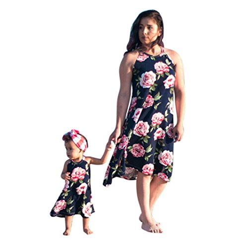 Franterd Mommy & Me Summer Dress Family Matching Floral Clothes Parent-Child Beach Party Sleeveless Long Dresses (2-3T, Baby)]()