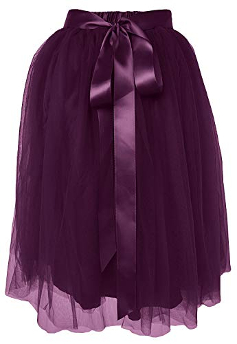 Dancina Women's Knee Length Tutu A Line Layered Tulle Skirt Regular (Size 2-18) Dark Purple ()