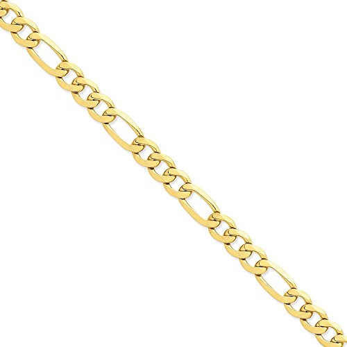 14k Yellow Gold 10mm Flat Figaro Chain 9'' Men's Bracelet by Jewelplus