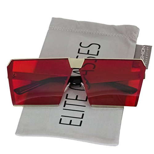 Elite Oversized Flat Top Metal Square Sleek Retro Mirrored Oceanic Lens Sunglasses (Red, 66)