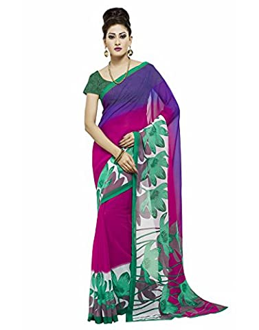Janasya Women's Magenta & Green Printed Georgette Saree (Magenta Green)