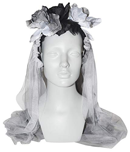 Gothic Halloween Headband with Roses and Veil, 30