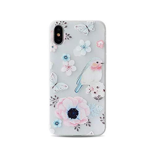 (iPhone XR Case,Blingy's New Foral Bird Style Half Transparent Matte Texture Protective Soft TPU Rubber Case Compatible for iPhone XR (Bird On Flower))