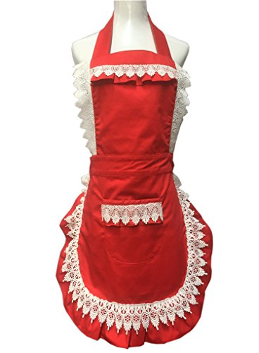 Lovely Lace Work Adjustable Apron Home Shop Kitchen Cooking Women Aprons With Pocket for Christmas Gift, Red