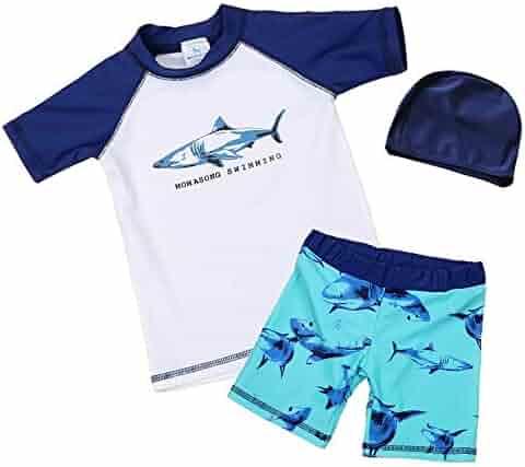 227421e64d Baby/Toddler Boy Shark Swimsuit 50+ UPF Kids Rash Guard Bathing Suit  Swimwear Set