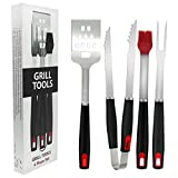CHAMVIS Heavy Duty BBQ Grilling Tools Set. Extra Thick Stainless Steel Spatula,Fork,Tongs