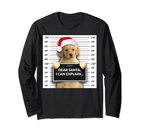 Golden Long Sleeve - Unisex Dear Santa i can Explain Christmas Golden Retriever hoodie Small Black
