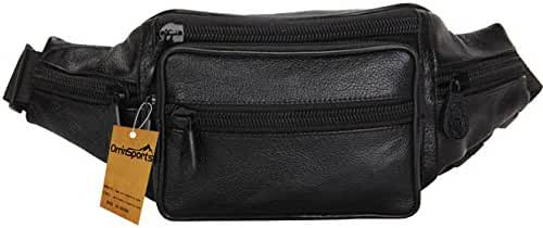 OrrinSports Genuine Leather Fanny Pack Cell Phone Pocket Large Capacity Waist Pack