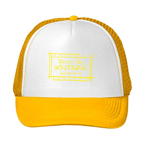Trucker Hat Dress Up Boutique Open: Mon Fri 9 5 Polyester Baseball Mesh Cap Snaps Yellow/Yellow One Size