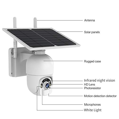 Solar Security Camera Outdoor, SDETER Wireless WiFi Pan Tilt Battery Powered Motion Detection Home IP Camera with Color Night Vision 2-Way Audio Activity Alert