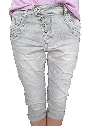 49d66b3a4b5e7 Karostar by Lexxury femmes Baggy copain Stretch Shorts Bermuda Capri  CARDAGE Pantalon avec boutons pierres avec strass - Gris, M/38: Amazon.fr:  Vêtements et ...