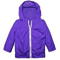 BELLE-LILI Kids Lightweight Waterproof Hooded Jacket Raincoat Hoodies with Pockets (3T, Dark Blue)