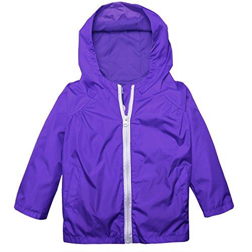 Girls Rain Slicker (BELLE-LILI Kids Lightweight Waterproof Hooded Jacket Raincoat Hoodies with Pockets (7, Dark Blue))