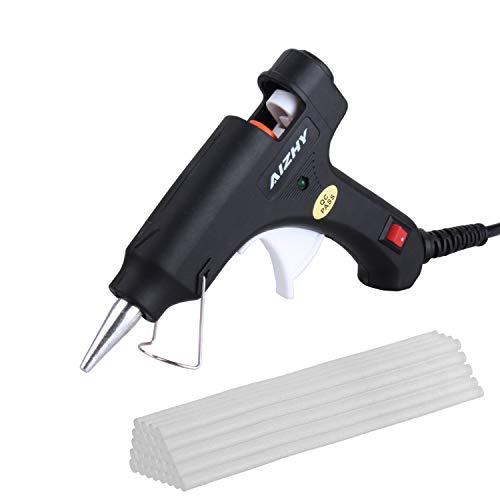 20W Hot Glue Gun with 30pcs Glue Sticks High Temperature Melting Adhesive Glue Gun for Craft, DIY, Hobby, Craft, Mini, Metal, Wood, Glass, Card, Fabric, Plastic, Ceramics (Black)