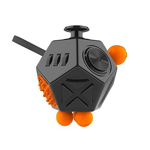 12 côtés miniature jouets de nouveauté Fidget Magic Cube soulage l'anxiété et le stress étrange jouet créatif pour adultes et enfants Décompressions Cube Rubik (noir)