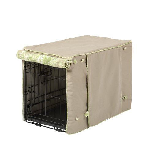 Crate Covers and More Double Door 22 Pet Crate Cover, Cape Cod Khaki with Green Tea