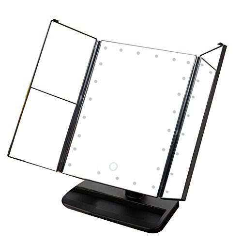 Zinnor Makeup Mirror Vanity Trifold 24-LED Lighted with Touch Screen, 1x/2x/3x Magnification,90 Degree Free Rotation Table Countertop Cosmetic,Three Folding Table LED Lamp Bathroom Light (Black) - Top Lamp Table