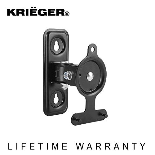 KRIËGER KM433 Steel Low Profile Adjustable Tilt, Swivel and Pivot Mechanism Speaker Wall Mount Bracket for SONOS Play 3 - Supports Sound Speakers Up to 2.6kg/5.72 lbs -Black