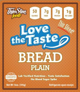 ThinSlim Foods Love-The-Taste 50 Calorie, 1g Net Carb Low Carb Bread, 2pack (Plain Thin Sliced) - Atkins Diet Bread